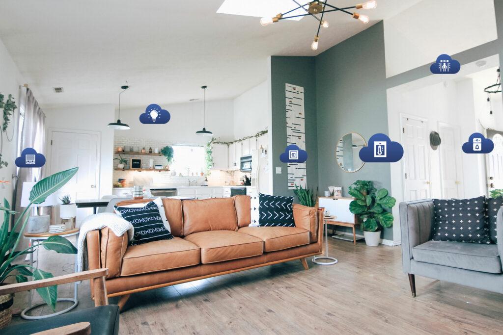salon avec des icônes des équipements compatibles avec l'application comfort life